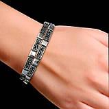 Серебряный регулируемый браслет с орнаментом, фото 2