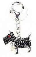 Прикольный металлический брелок-подвеска для ключей, сумок и рюкзаков со стразами Собачка 01091 Серебро с черными камнями