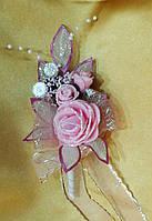 Свадебная бутоньерка для жениха (розовая)