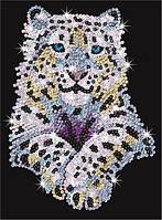 Набор для творчества блестящая мозаика Снежный леопард Sequin Art SA1404
