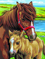 Раскраска по номерам набор для творчества Лошади Sequin Art SA0215