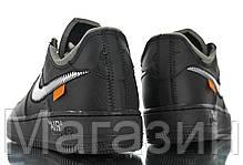 Женские кроссовки Off-White x Nike Air Force 1 '07 Virgil x MoMA Black Найк Аир Форс ОФФ Вайт кожаные черные, фото 3