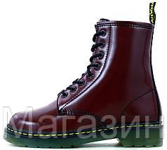 Зимние женские ботинки Dr. Martens 1460 Smooth VEGAN Bordo Доктор Мартинс бордовые С МЕХОМ