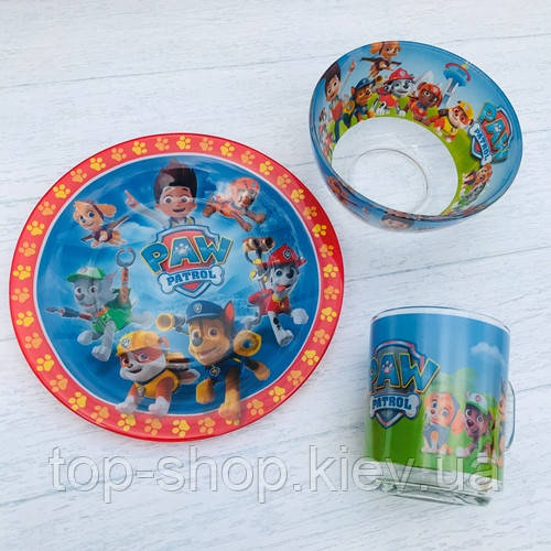 Набор детской посуды стекло Щенячий патруль с героями мультфильмов