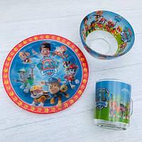 Набор детской посуды стекло Щенячий патруль с героями мультфильмов, фото 1