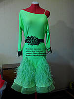 Платье для бальных танцев - латина салатового цвета (юбка в перьях страуса)