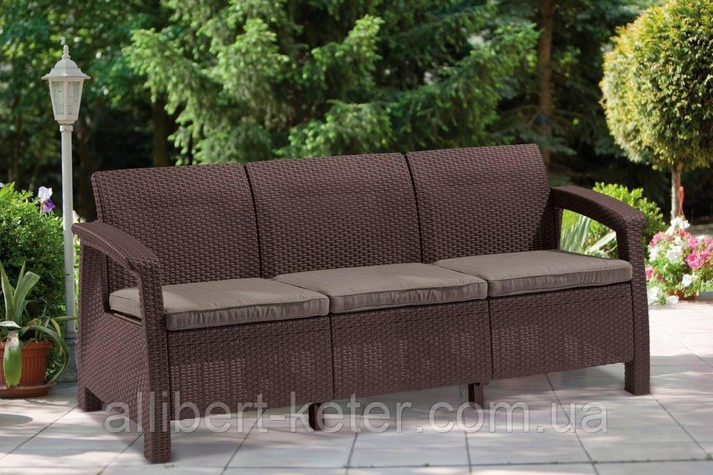 Набір садових меблів Corfu Love Seat Max Brown ( коричневий ) з штучного ротанга ( Allibert by Keter )