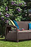 Набор садовой мебели Corfu Love Seat Max Brown ( коричневый ) из искусственного ротанга ( Allibert by Keter ), фото 7