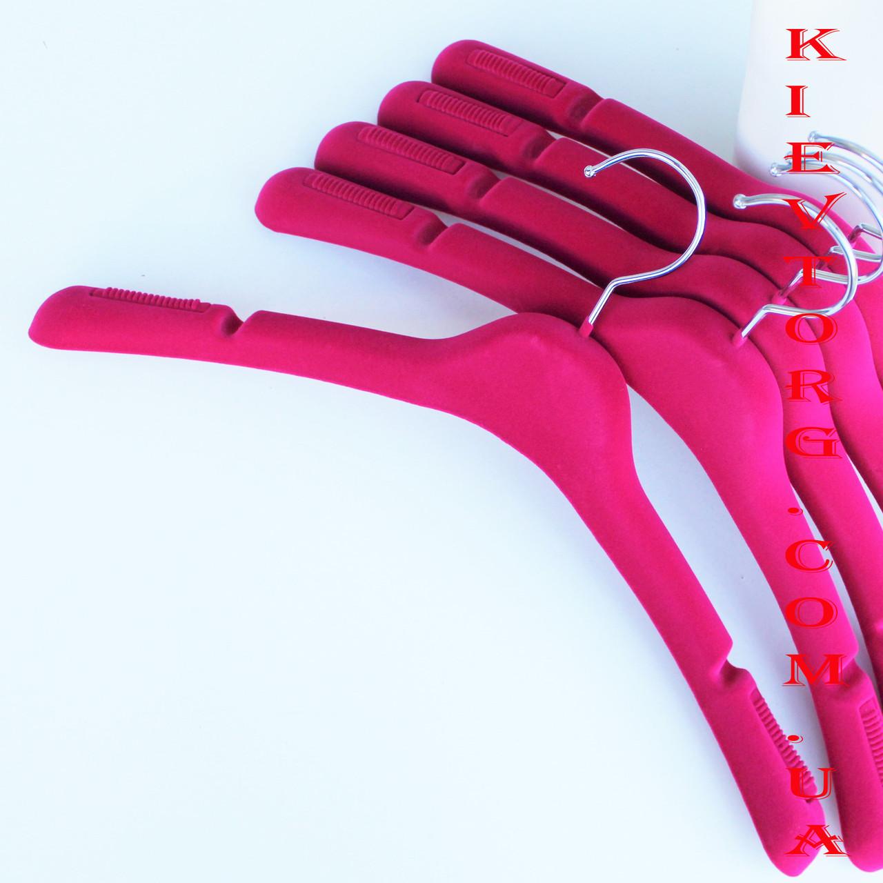 Бархатные плечики вешалки тремпеля для верхней одежды, трикотажа флокированные розовые, 43 см