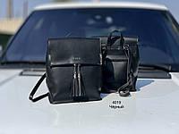 Рюкзак черный женский молодежный городской модный брендовый рюкзачок экокожа, фото 1