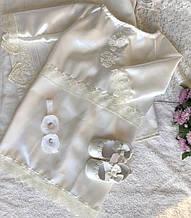 Набор для крещения цвета ivory (платье, пинетки и повязка с цветами) hand made