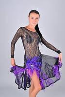 Платье для бальных танцев - латина (юбка в перьях страуса)