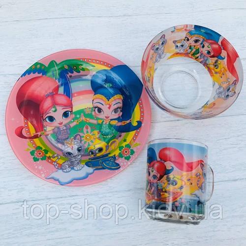 Детский набор посуды из прочного стекла 3 предмета шиммер и шайн