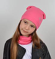 Детский трикотажный комплект оптом (шапка+хомут)