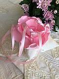Свадебная подушка для колец с розовым цветком hand made, фото 3