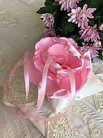 Свадебная подушка для колец с розовым цветком hand made
