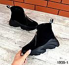 Женские ботинки в черном цвете, из натуральной замши (в наличии и под заказ 3-14 дней), фото 6