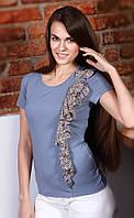 Блузка женская голубого цвета с шифоновой вставкой, распродажа. Модель 231 Mirabelle.
