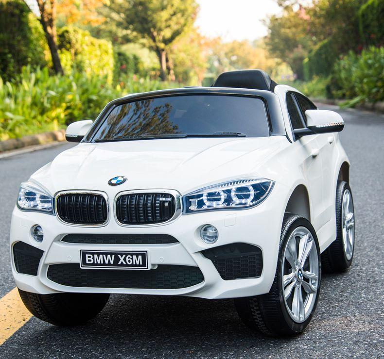 Детский электромобиль Джип JJ 2199 EBLR-1, BMW X6M, кожаное сиденье, колеса EVA, белый
