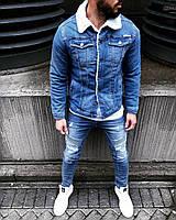 Джинсовый пиджак мужской Black Island на меху синий
