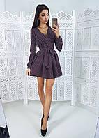 Платье в горошек бордового цвета  с пышной юбкой и запахом на груди
