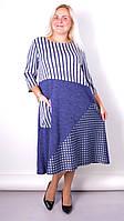 Коллаж. Комбинированное платье плюс сайз. Синий 50, 52, 54, 56