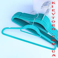 Плечики вешалки флокированные (бархатные, велюровые) тиффани, 40 см