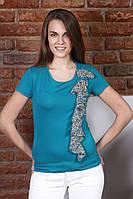 Блузка женская цвета туркус с шифоновой вставкой, распродажа. Модель 231 Mirabelle.