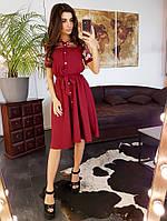 Бордовое платье миди со вставкой из сетки с вышивкой