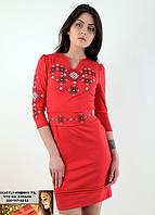 Платье красное вышитое крестиком  52-54, 56-58