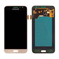 Дисплейный модуль (LCD + touch) Samsung J320H/ J3-2016 золотой Copy