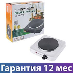 Электроплита Esperanza EKH003K White 1000W 1 конфорка, настольная кухонная плита электрическая, електроплита