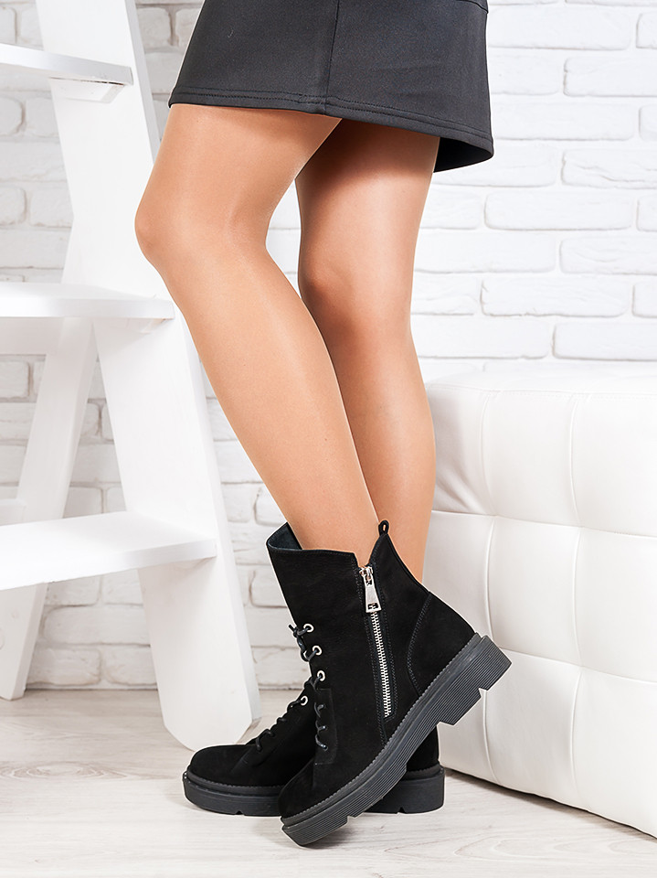 Ботинки  Angelina черный нубук 6719-28