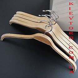 Вешалки плечики тремпеля деревянные бамбуковые с прорезиненным антискользящим плечом, 38 см