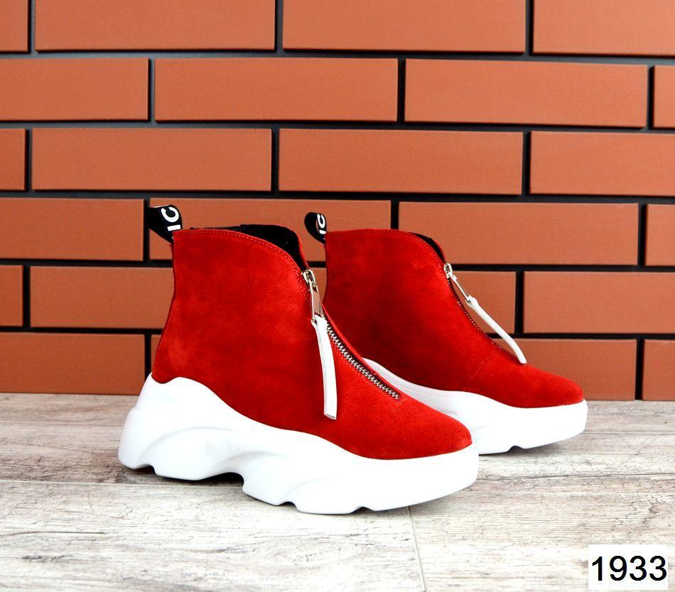Женские ботинки в красном цвете, из натуральной замши (в наличии и под заказ 3-14 дней)