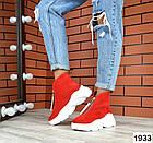 Женские ботинки в красном цвете, из натуральной замши (в наличии и под заказ 3-14 дней), фото 5