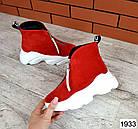 Женские ботинки в красном цвете, из натуральной замши (в наличии и под заказ 3-14 дней), фото 6