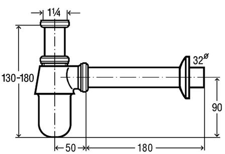 Сифон для умывальника 1 1/4, хром (100674), фото 2