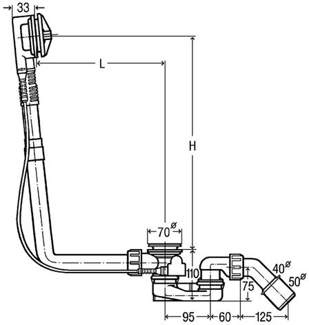 Сифон Multiplex для ванны 725 мм, без накладок (111069), фото 2