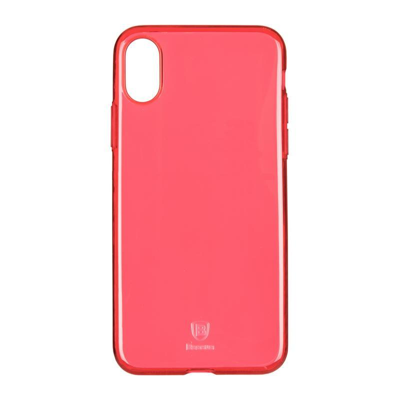 Baseus (OR) Simple Series Case For iPhone X (Clean TPU) Transparent Red (B09)