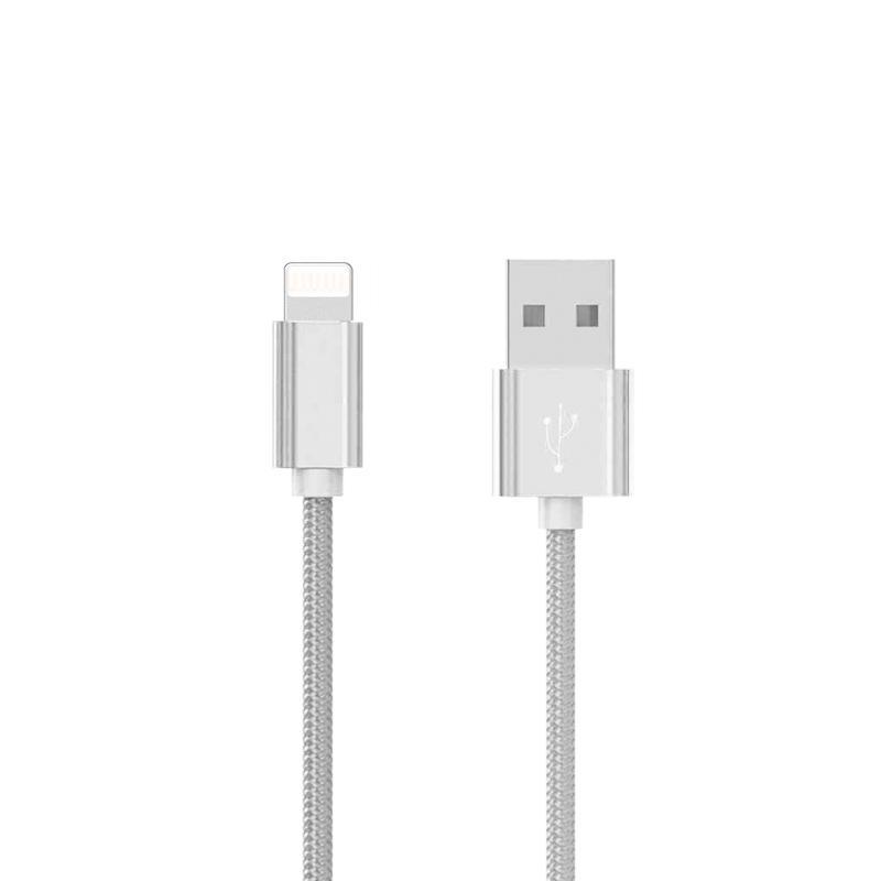 USB Cable Hoco X2 Knitted iPhone 6 Silver 1m