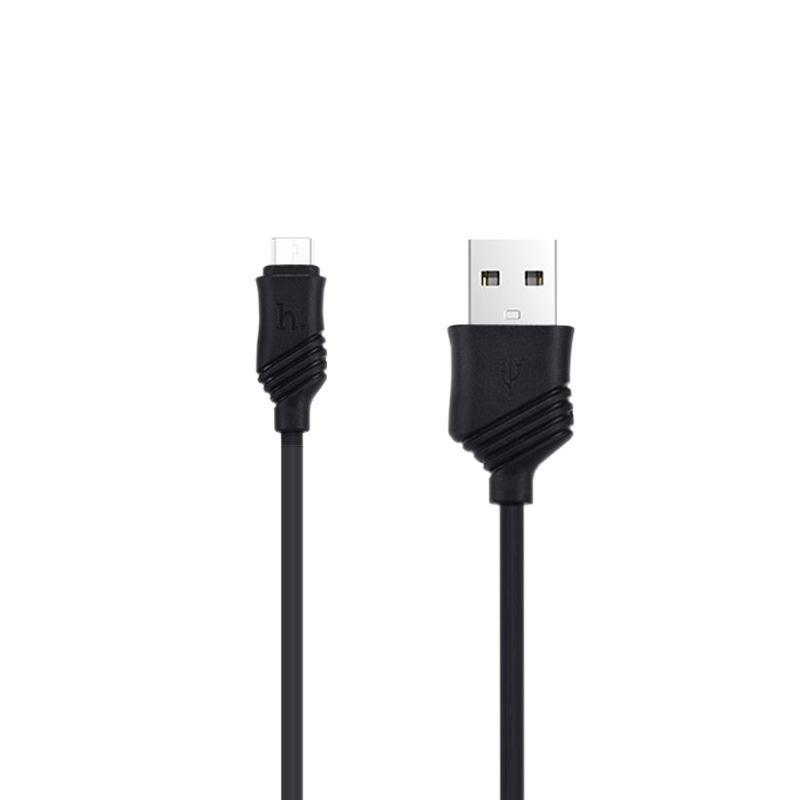 USB Cable Hoco X6 Khaki MicroUSB Black 1m