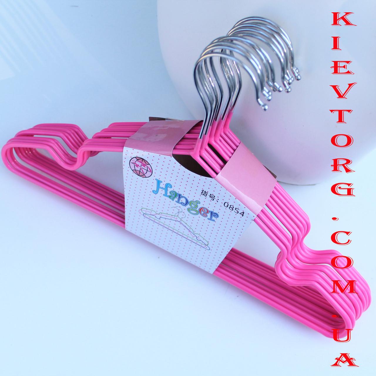 Вешалки плечики тремпеля детские металлические силиконовые антискользящие розовые, 30 см, 10 шт