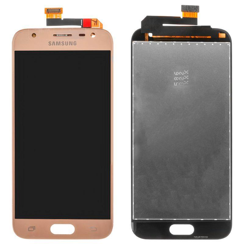 Дисплейный модуль (LCD + touch) Samsung J330H/ J3-2017 золотой (100% оригинал)
