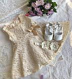 Кружевное платье для девочки с пинетками и повязочкой на голову (торжество или крещение), фото 6