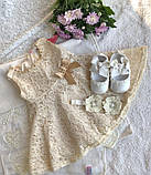 Кружевное платье для девочки с пинетками и повязочкой на голову (торжество или крещение), фото 5