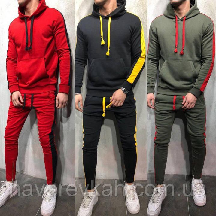Мужской спортивный костюм хаки графит красный 46 48 50 52