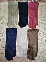 Замш тонкий женские перчатки стильные только оптом, фото 1
