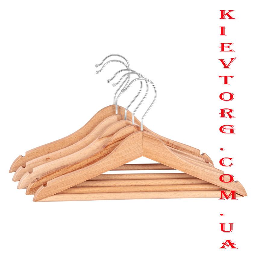 Вешалки плечики деревянные подростковые лакированные с перекладиной 34 см LUX