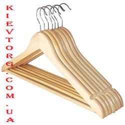 Плечики вешалки деревянные для женской одежды лакированные светлые LUX, 38 см
